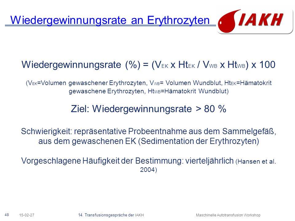 48 15-02-27 14. Transfusionsgespräche der IAKHMaschinelle Autotransfusion Workshop Wiedergewinnungsrate an Erythrozyten Wiedergewinnungsrate (%) = (V