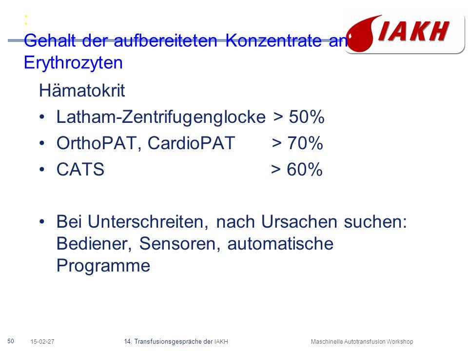 50 15-02-27 14. Transfusionsgespräche der IAKHMaschinelle Autotransfusion Workshop : Gehalt der aufbereiteten Konzentrate an Erythrozyten Hämatokrit L