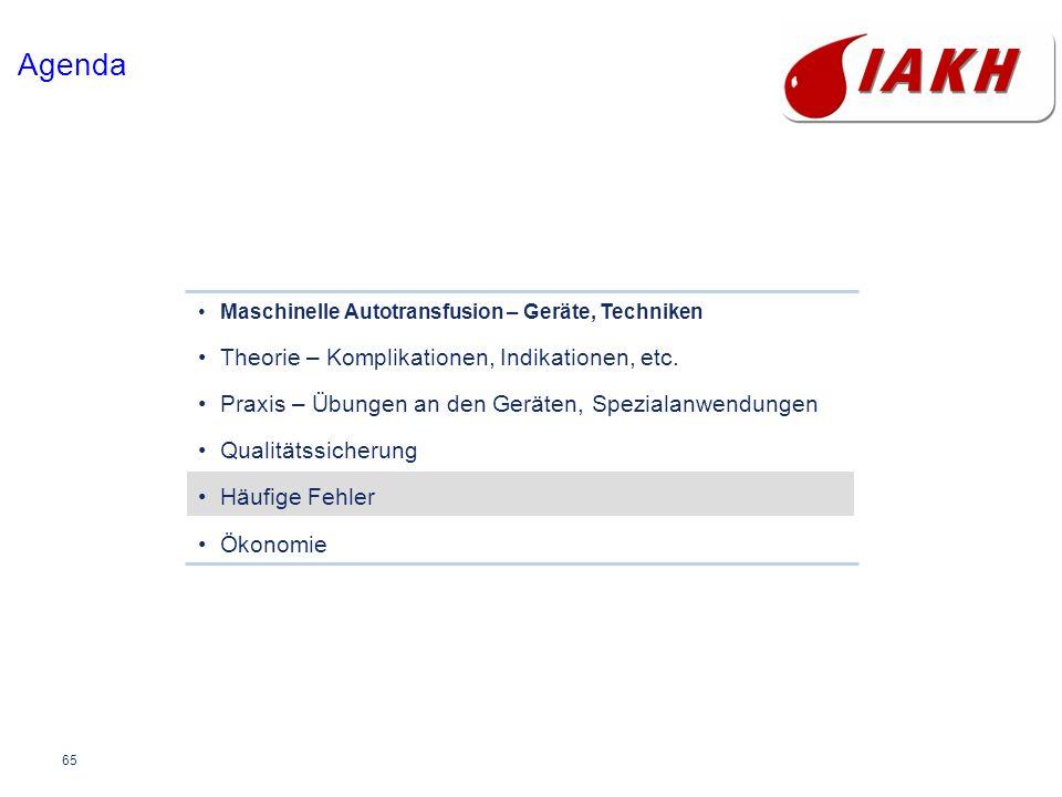 65 Agenda Maschinelle Autotransfusion – Geräte, Techniken Theorie – Komplikationen, Indikationen, etc. Praxis – Übungen an den Geräten, Spezialanwendu
