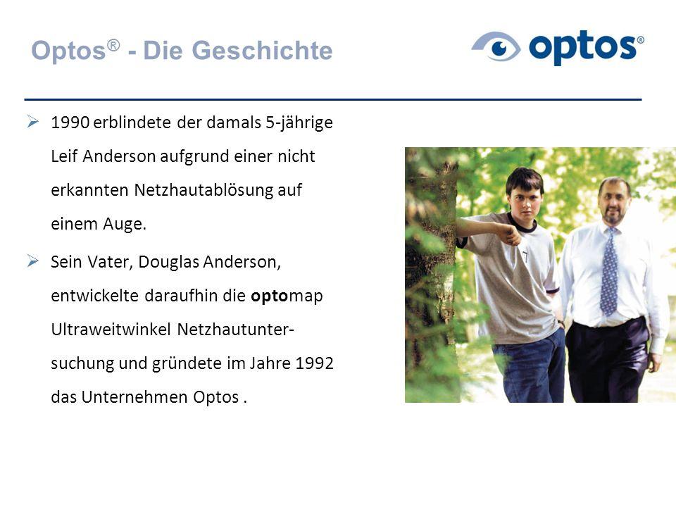 optomap - die Technologie  Scanning Laser Ophthalmoskop zur Ultraweitwinkel-Netzhautuntersuchung  Bis zu 200°Darstellung der Netzhaut mit einer Aufnahme  Keine Pupillenerweiterung notwendig  Mehr-Frequenz Laser Bildgebung liefert Information über verschiedene Schichten der Netzhaut