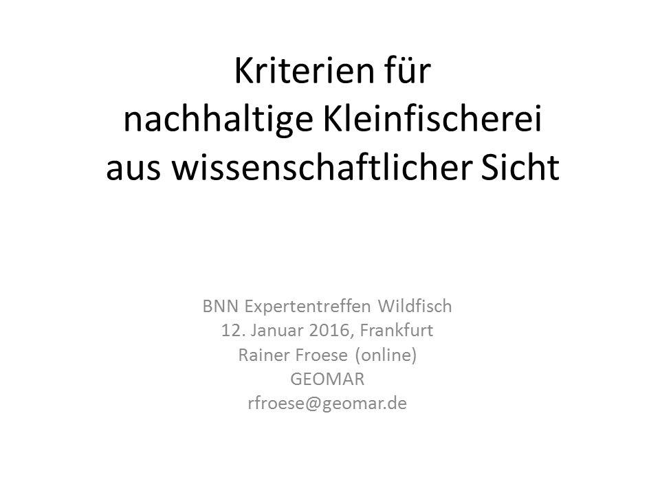 Kriterien für nachhaltige Kleinfischerei aus wissenschaftlicher Sicht BNN Expertentreffen Wildfisch 12.