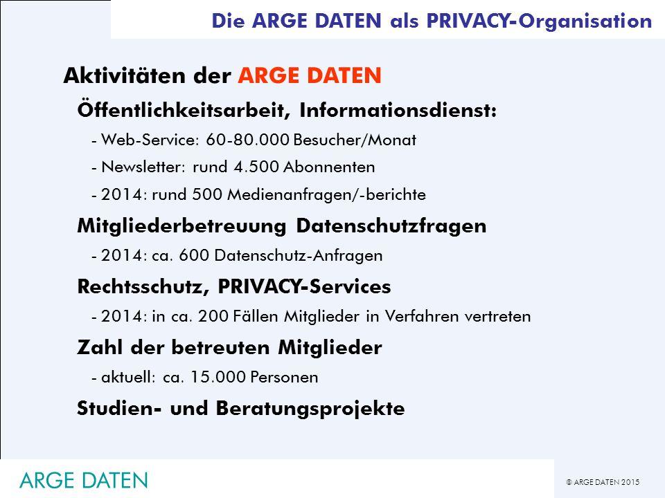 © ARGE DATEN 2015 ARGE DATEN Registrierungsfreiheit (§ 17) -Standardanwendungen -DA enthält ausschließlich (!) veröffentlichte Daten (typischerweise Telefonbuch-CDs u.ä.) -Führung öffentlich einsehbarer, gesetzlich vorgesehener Register -ausschließlich indirekt personenbezogene Daten -persönliche Datenanwendungen -publizistische Datenanwendungen -manuelle Datenanwendungen, die nicht der Vorabkontrolle unterliegen -bestimmte DA's der Republik Österreich -DA für Zwecke der Strafverfolgung DSG 2000 - Registrierung und Genehmigung