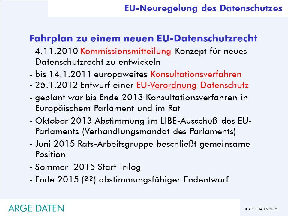 © ARGE DATEN 2015 EU-Neuregelung des Datenschutzes Fahrplan zu einem neuen EU-Datenschutzrecht -4.11.2010 Kommissionsmitteilung Konzept für neues Datenschutzrecht zu entwickeln -bis 14.1.2011 europaweites Konsultationsverfahren -25.1.2012 Entwurf einer EU-Verordnung Datenschutz -geplant war bis Ende 2013 Konsultationsverfahren in Europäischem Parlament und im Rat -Oktober 2013 Abstimmung im LIBE-Ausschuß des EU- Parlaments (Verhandlungsmandat des Parlaments) -Juni 2015 Rats-Arbeitsgruppe beschließt gemeinsame Position -Sommer 2015 Start Trilog -Ende 2015 (??) abstimmungsfähiger Endentwurf ARGE DATEN