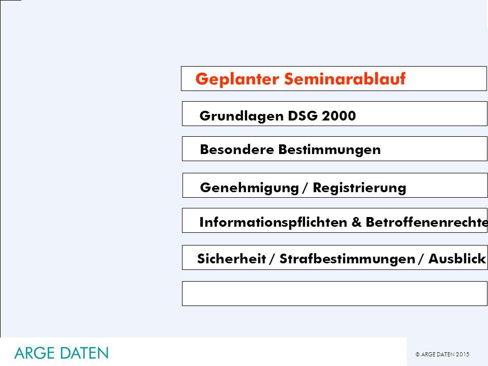 © ARGE DATEN 2015 ARGE DATEN Grundlagen DSG 2000 Besondere Bestimmungen Genehmigung / Registrierung Informationspflichten & Betroffenenrechte Geplanter Seminarablauf Sicherheit / Strafbestimmungen / Ausblick