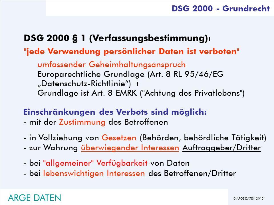 © ARGE DATEN 2015 Einschränkungen des Verbots sind möglich: - mit der Zustimmung des Betroffenen - in Vollziehung von Gesetzen (Behörden, behördliche Tätigkeit) - zur Wahrung überwiegender Interessen Auftraggeber/Dritter - bei allgemeiner Verfügbarkeit von Daten - bei lebenswichtigen Interessen des Betroffenen/Dritter DSG 2000 - Grundrecht DSG 2000 § 1 (Verfassungsbestimmung) : jede Verwendung persönlicher Daten ist verboten umfassender Geheimhaltungsanspruch Europarechtliche Grundlage (Art.