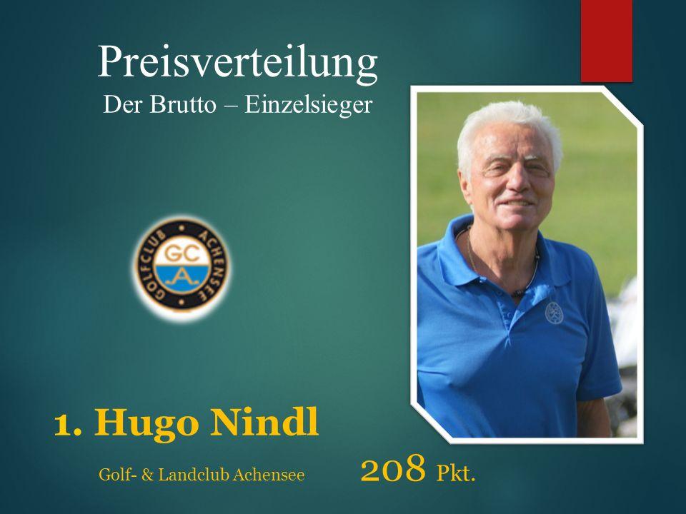 Preisverteilung Der Brutto – Einzelsieger 1. Hugo Nindl Golf- & Landclub Achensee 208 Pkt.