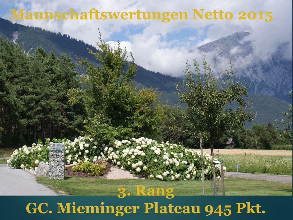 Mannschaftswertungen Netto 2015 3. Rang GC. Mieminger Plateau 945 Pkt.