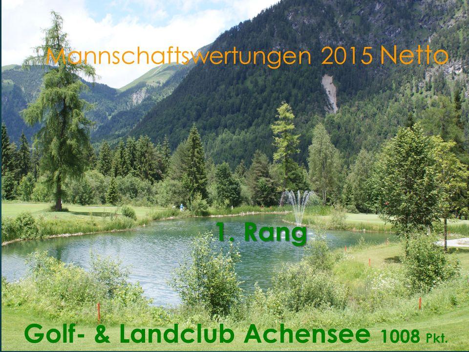 Mannschaftswertungen 2015 Netto Golf- & Landclub Achensee 1008 Pkt. 1. Rang