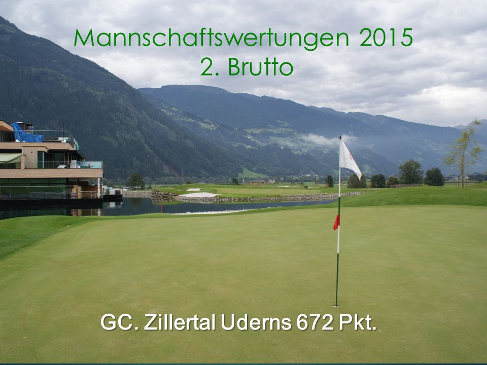 GC. Zillertal Uderns 672 Pkt. Mannschaftswertungen 2015 2. Brutto
