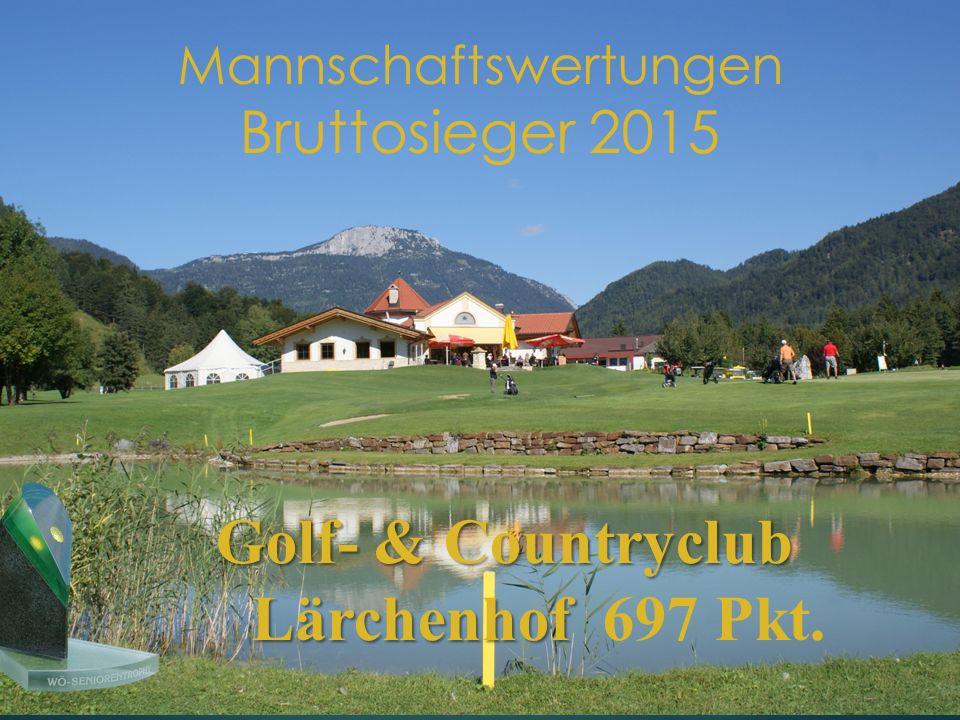 Mannschaftswertungen Bruttosieger 2015 Golf- & Countryclub Lärchenhof Golf- & Countryclub Lärchenhof 697 Pkt.