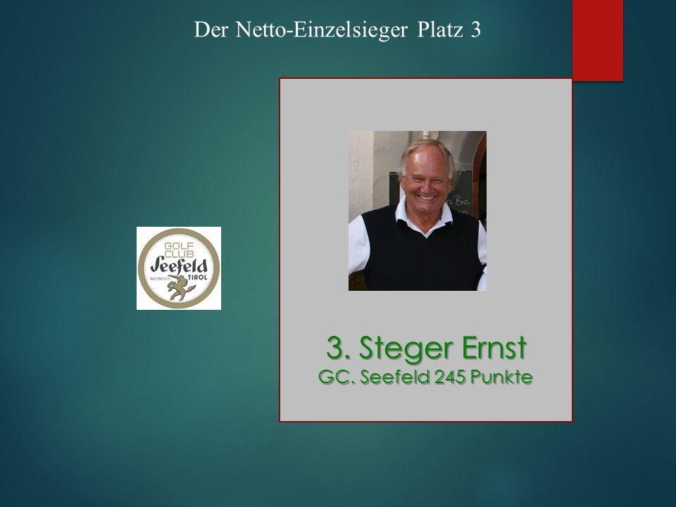 Der Netto-Einzelsieger Platz 3 3. Steger Ernst GC. Seefeld 245 Punkte