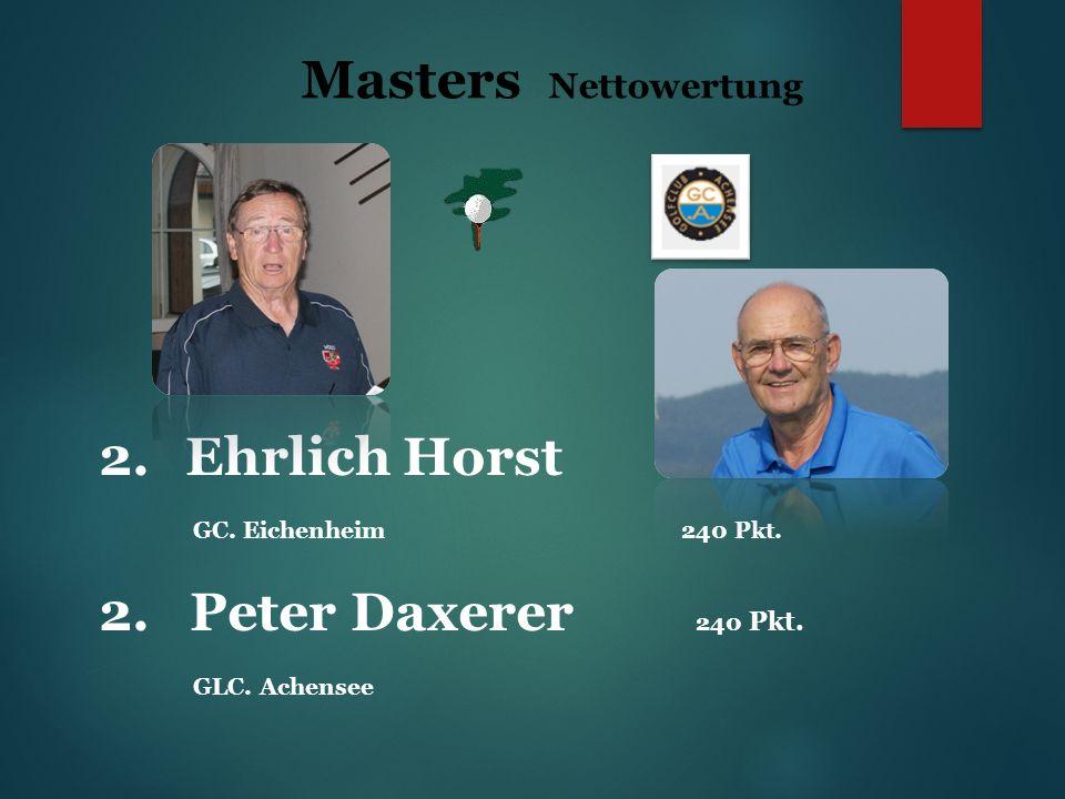 Masters Nettowertung 2.Ehrlich Horst GC. Eichenheim 240 Pkt.