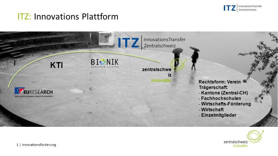 1 | Innovationsförderung ITZ: Innovations Plattform KTI Rechtsform: Verein Trägerschaft: - Kantone (Zentral-CH) - Fachhochschulen - Wirtschafts-Förderung - Wirtschaft - Einzelmitglieder zentralschwe iz innovativ