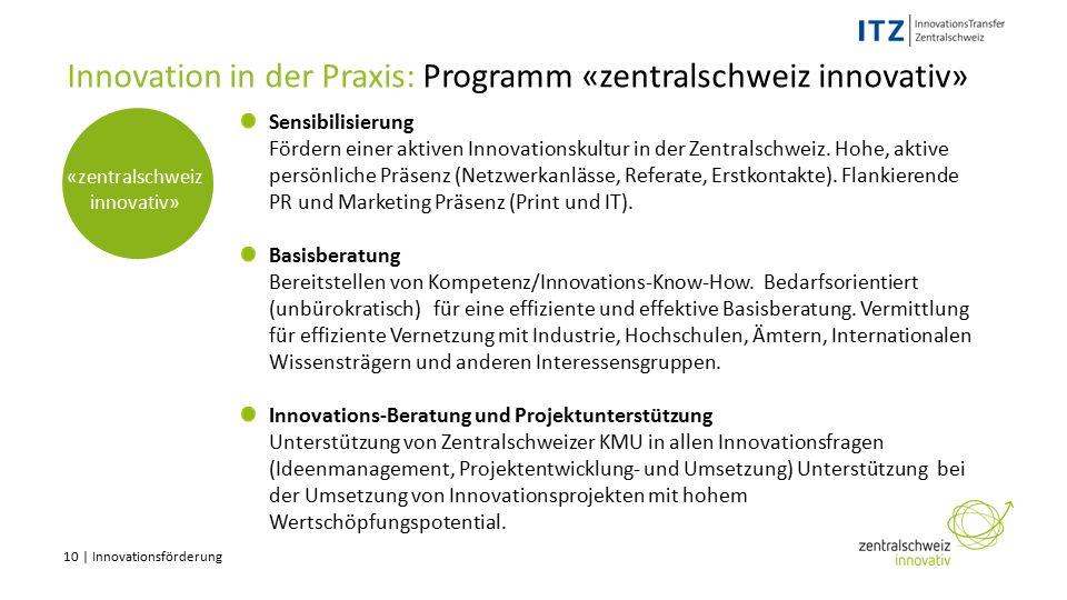 10 | Innovationsförderung «zentralschweiz innovativ» Innovation in der Praxis: Programm «zentralschweiz innovativ» Sensibilisierung Fördern einer aktiven Innovationskultur in der Zentralschweiz.