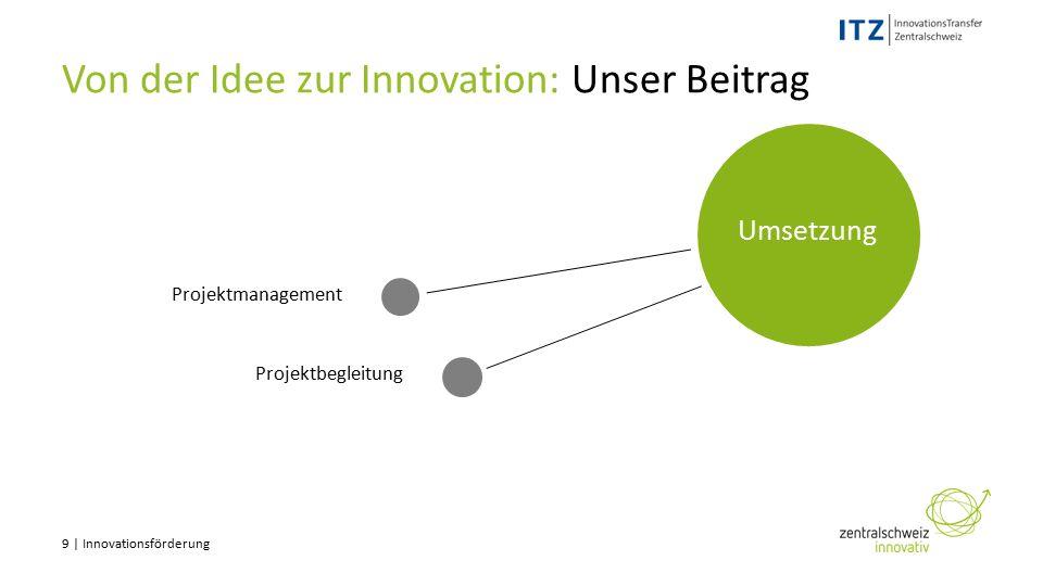 9 | Innovationsförderung Projektmanagement Von der Idee zur Innovation: Unser Beitrag Projektbegleitung Umsetzung