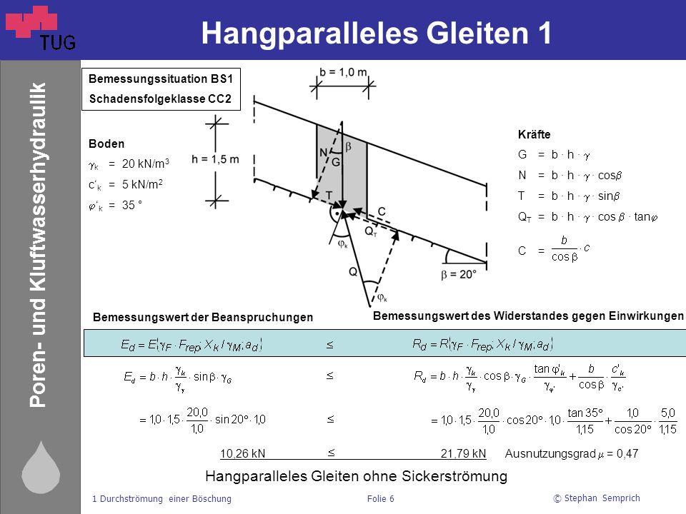 © Stephan Semprich 1 Durchströmung einer BöschungFolie 7 Poren- und Kluftwasserhydraulik Hangparalleles Gleiten 2 11,04 kN 14,07 kN Ausnutzungsgrad  = 0,78 Boden  ' k =11 kN/m 3 c' k =5 kN/m 2  ' k =35 °  ' w =10 kN/m 3 Kräfte G=b ∙ h ∙  N=b ∙ h ∙  ∙ cos  T=b ∙ h ∙  ∙ sin  Q T =b ∙ h ∙  ∙ cos  ∙ tan  C= S=b ∙ h ∙  w ∙ i i = tan  Bemessungswert der Beanspruchungen Bemessungswert des Widerstandes gegen Einwirkungen Hangparalleles Gleiten mit Sickerströmung Bemessungssituation BS1 Schadensfolgeklasse CC2