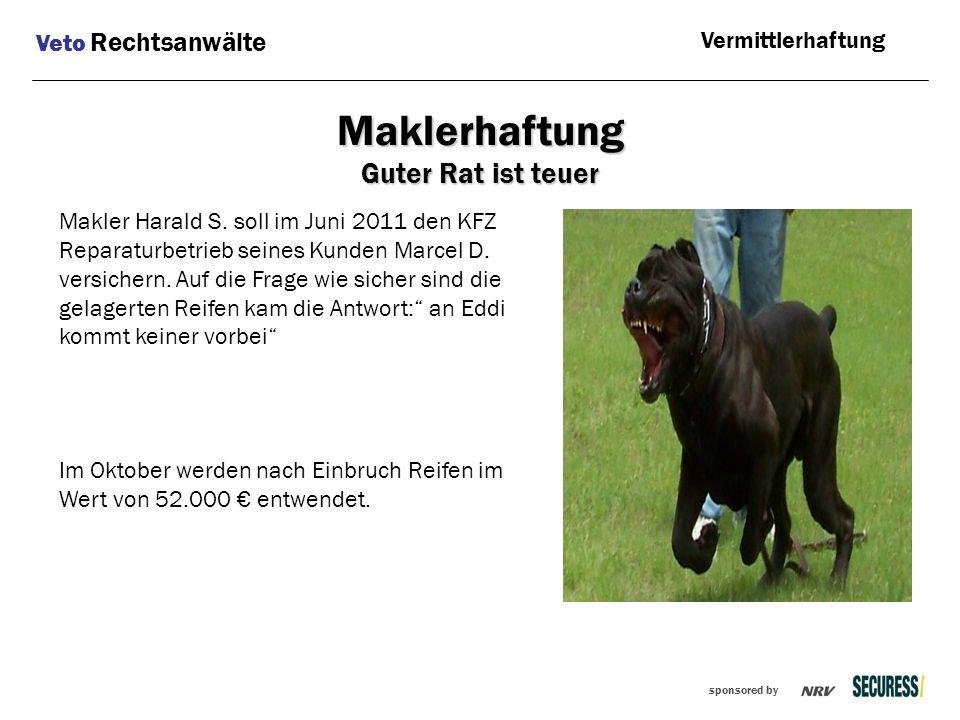 sponsored by Makler Harald S. soll im Juni 2011 den KFZ Reparaturbetrieb seines Kunden Marcel D. versichern. Auf die Frage wie sicher sind die gelager