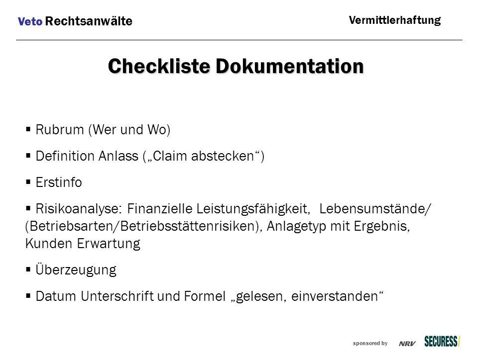 """sponsored by  Rubrum (Wer und Wo)  Definition Anlass (""""Claim abstecken"""")  Erstinfo  Risikoanalyse: Finanzielle Leistungsfähigkeit, Lebensumstände/"""