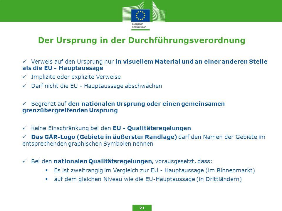Der Ursprung in der Durchführungsverordnung 21 Verweis auf den Ursprung nur in visuellem Material und an einer anderen Stelle als die EU - Hauptaussag