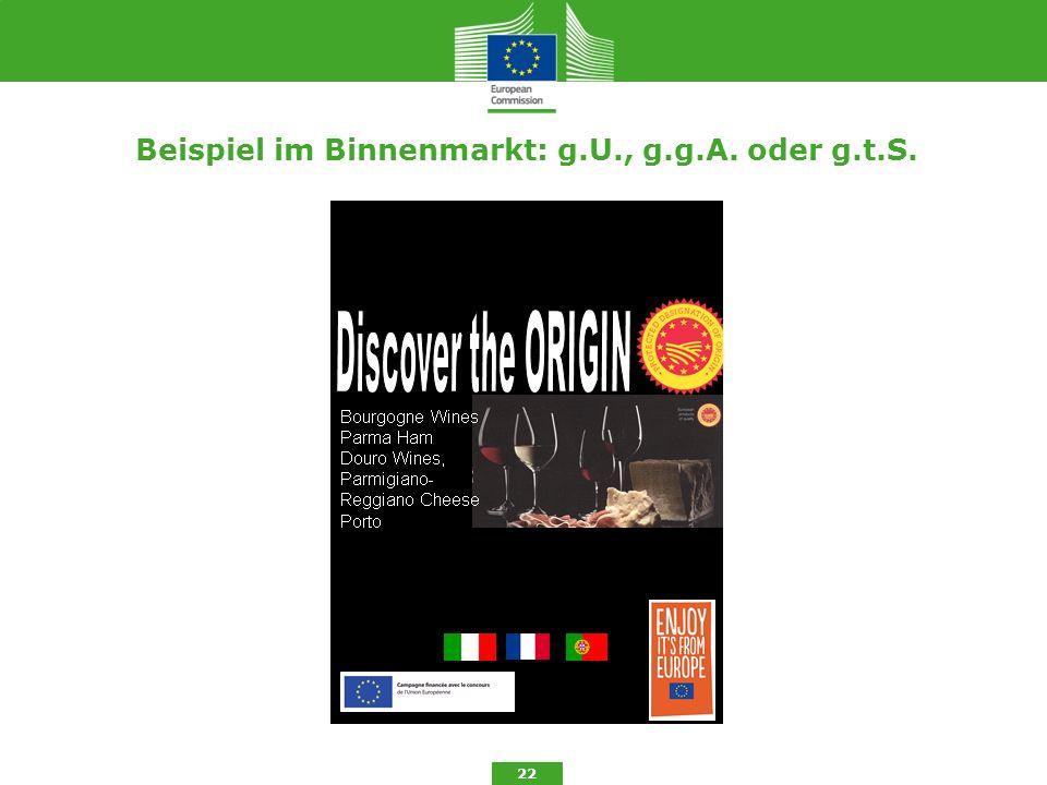 Beispiel im Binnenmarkt: g.U., g.g.A. oder g.t.S. 22