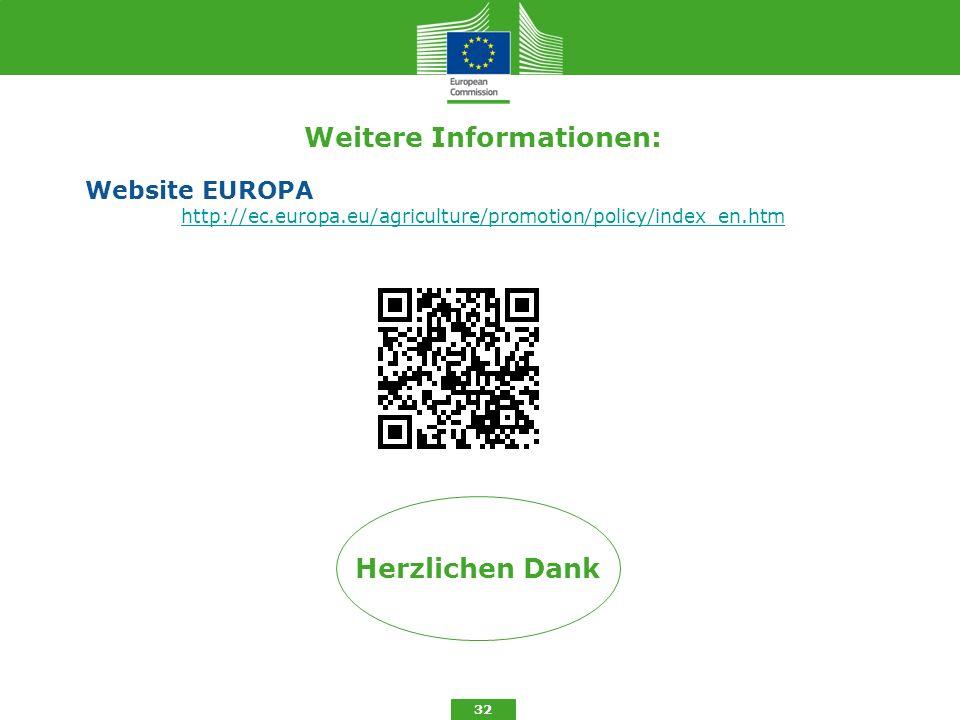 Weitere Informationen: Website EUROPA http://ec.europa.eu/agriculture/promotion/policy/index_en.htm 32 Herzlichen Dank