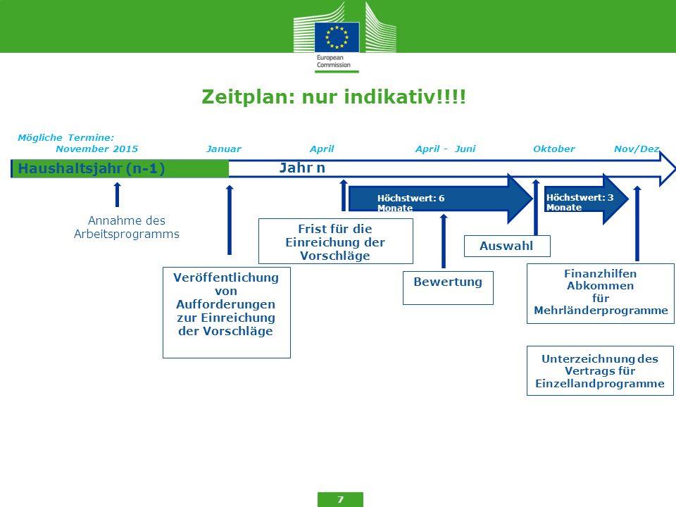 Zeitplan: nur indikativ!!!! Annahme des Arbeitsprogramms 7 Haushaltsjahr (n-1) Jahr n Veröffentlichung von Aufforderungen zur Einreichung der Vorschlä