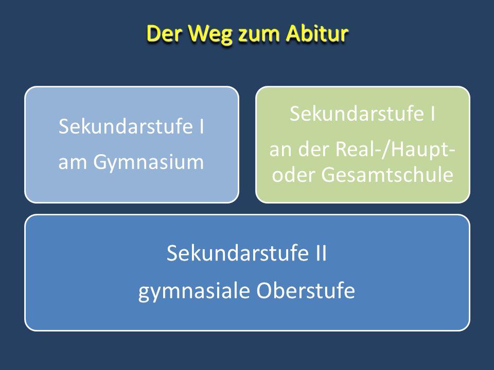 Der Weg zum Abitur Sekundarstufe II gymnasiale Oberstufe Sekundarstufe I am Gymnasium Sekundarstufe I an der Real-/Haupt- oder Gesamtschule