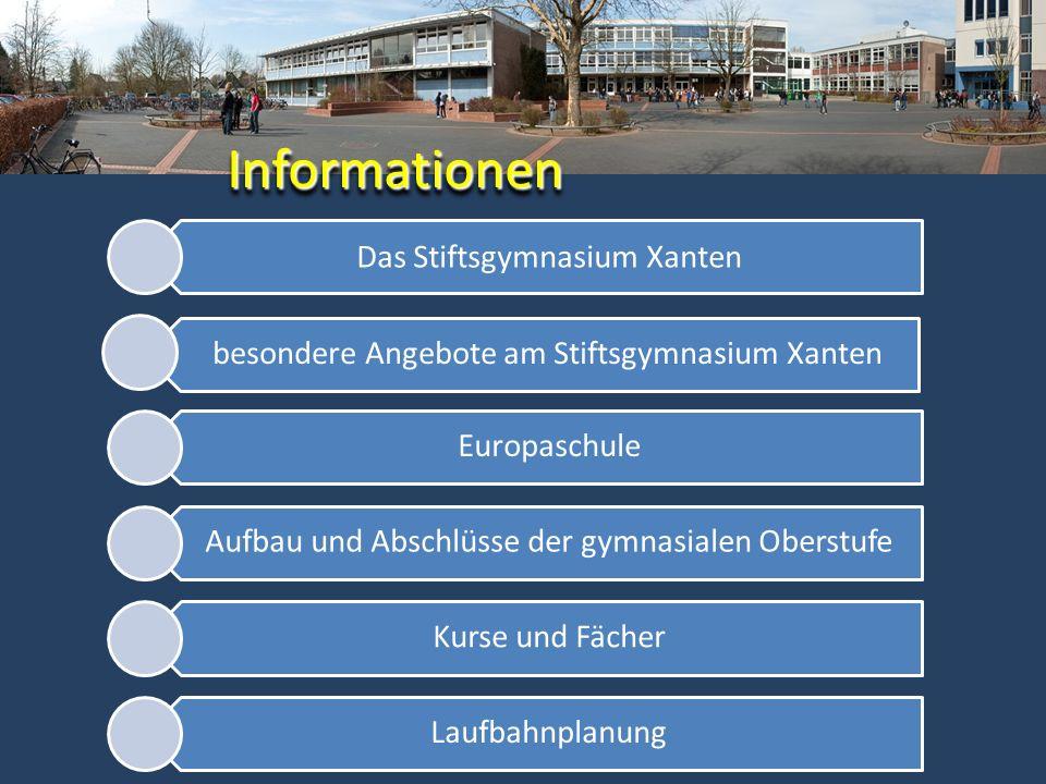 Das Stiftsgymnasium Xanten besondere Angebote am Stiftsgymnasium Xanten Europaschule Aufbau und Abschlüsse der gymnasialen Oberstufe Kurse und Fächer