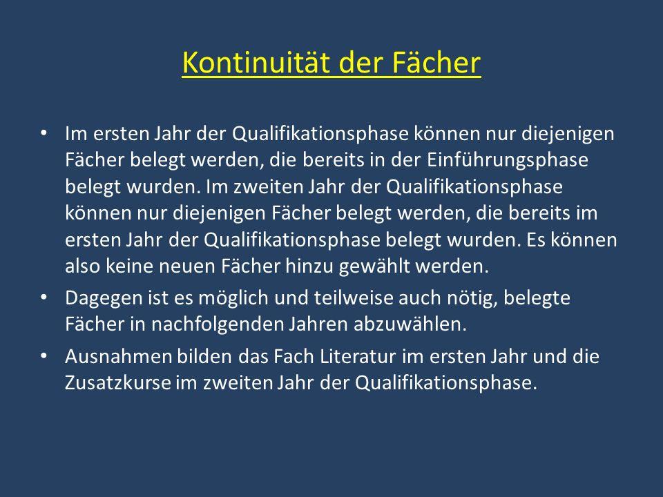 Kontinuität der Fächer Im ersten Jahr der Qualifikationsphase können nur diejenigen Fächer belegt werden, die bereits in der Einführungsphase belegt w
