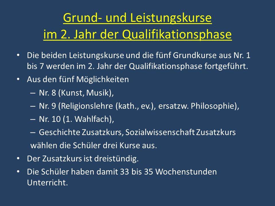Grund- und Leistungskurse im 2. Jahr der Qualifikationsphase Die beiden Leistungskurse und die fünf Grundkurse aus Nr. 1 bis 7 werden im 2. Jahr der Q