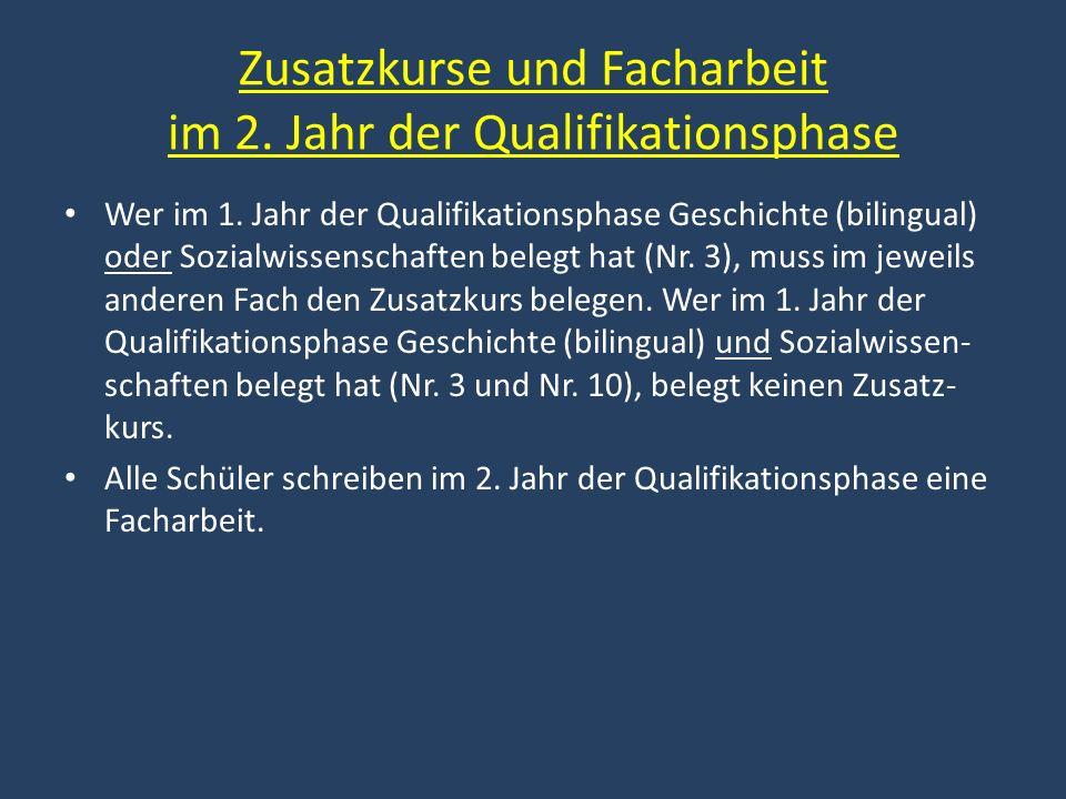 Zusatzkurse und Facharbeit im 2. Jahr der Qualifikationsphase Wer im 1. Jahr der Qualifikationsphase Geschichte (bilingual) oder Sozialwissenschaften