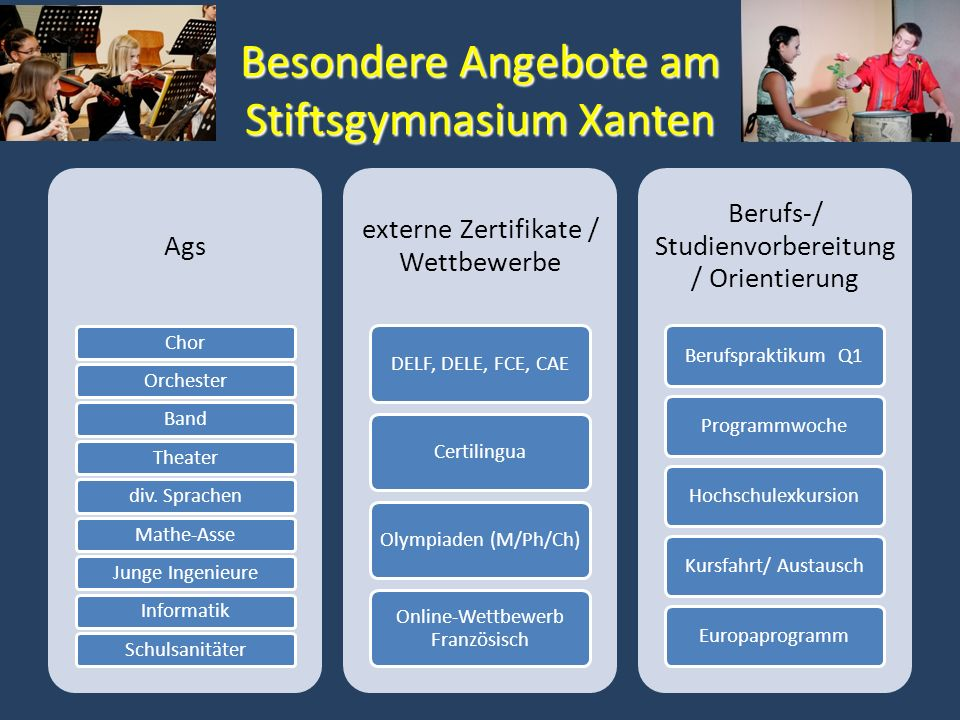 Besondere Angebote am Stiftsgymnasium Xanten Ags ChorOrchesterBandTheaterdiv. SprachenMathe-AsseJunge IngenieureInformatikSchulsanitäter externe Zerti
