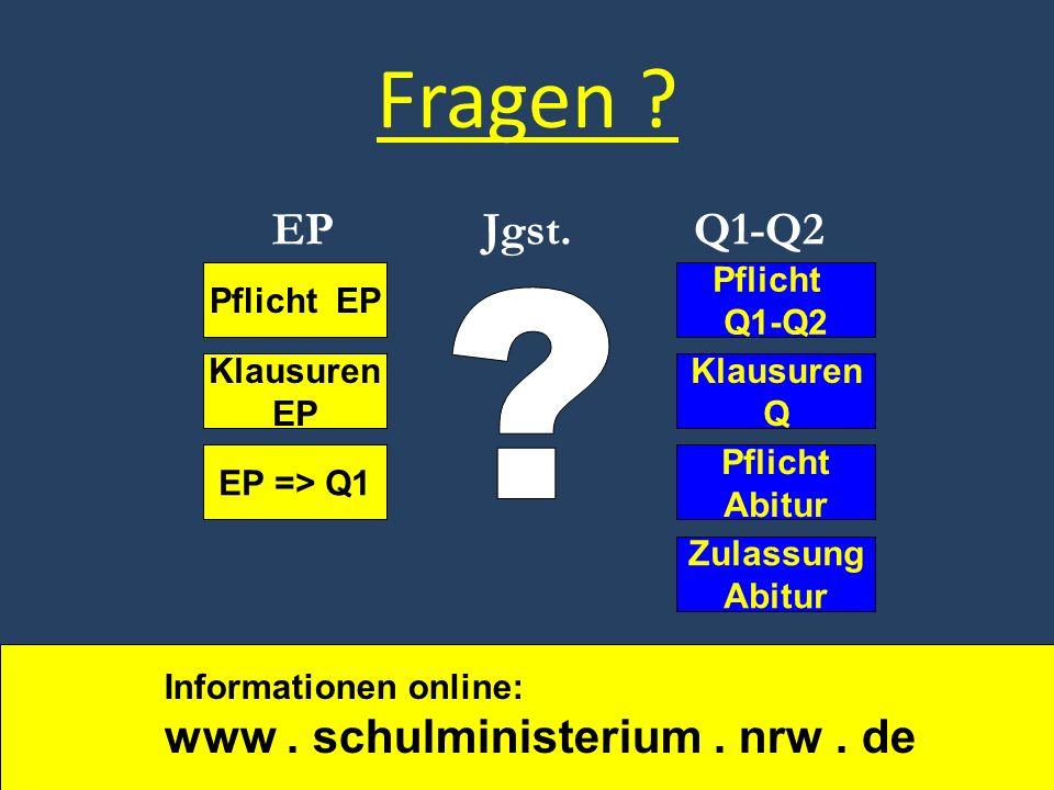 Fragen ? Pflicht EP EP => Q1 Pflicht Q1-Q2 Zulassung Abitur Pflicht Abitur Klausuren EP Klausuren Q EPJgst.Q1-Q2 Informationen online: www. schulminis