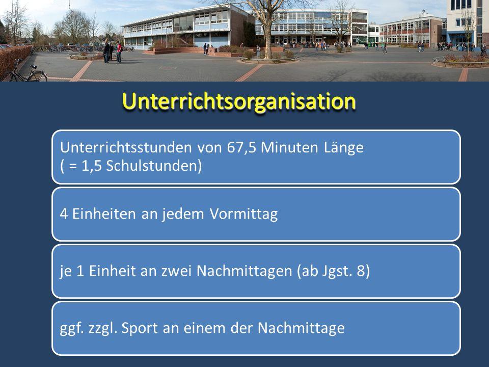 Unterrichtsstunden von 67,5 Minuten Länge ( = 1,5 Schulstunden) 4 Einheiten an jedem Vormittagje 1 Einheit an zwei Nachmittagen (ab Jgst. 8)ggf. zzgl.