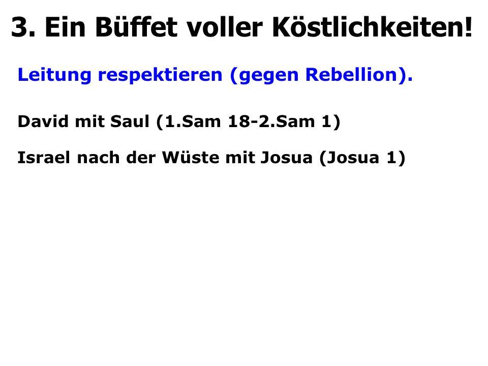 Leitung respektieren (gegen Rebellion). 3. Ein Büffet voller Köstlichkeiten! David mit Saul (1.Sam 18-2.Sam 1) Israel nach der Wüste mit Josua (Josua