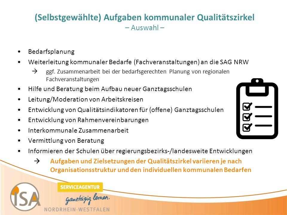 (Selbstgewählte) Aufgaben kommunaler Qualitätszirkel – Auswahl – Bedarfsplanung Weiterleitung kommunaler Bedarfe (Fachveranstaltungen) an die SAG NRW  ggf.