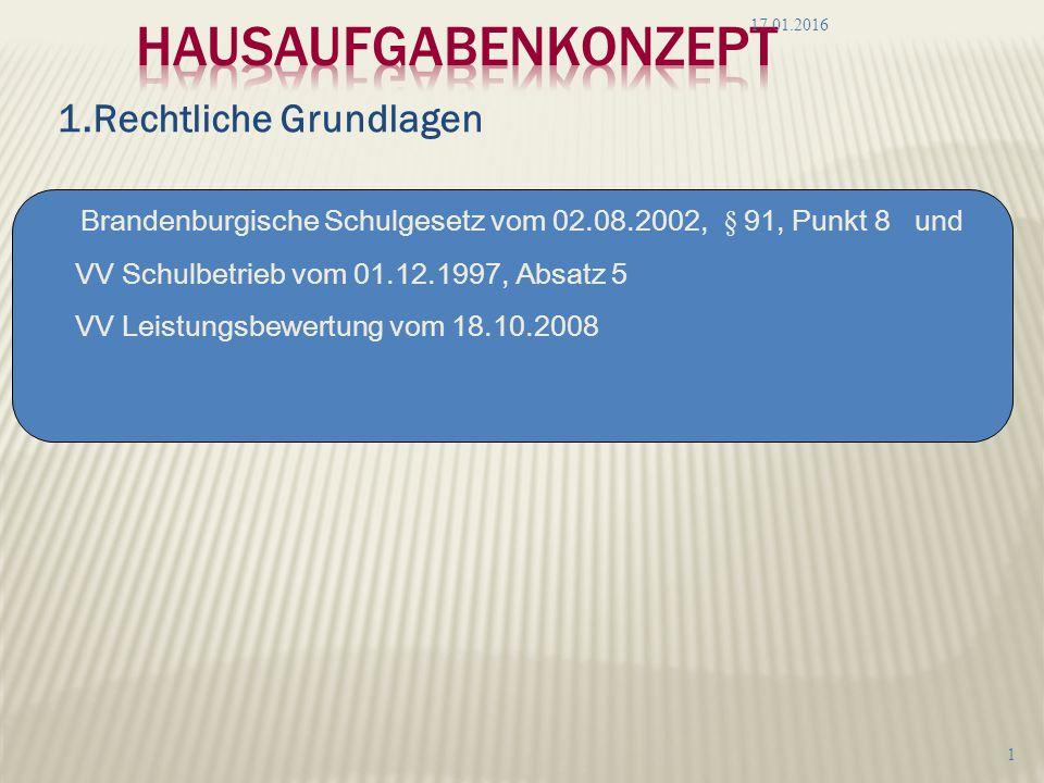 1.Rechtliche Grundlagen 17.01.2016 1 Brandenburgische Schulgesetz vom 02.08.2002, § 91, Punkt 8 und VV Schulbetrieb vom 01.12.1997, Absatz 5 VV Leistungsbewertung vom 18.10.2008