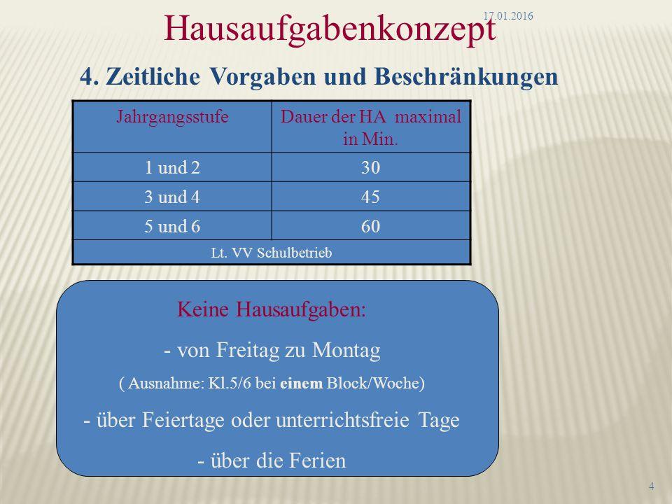 Hausaufgabenkonzept 4. Zeitliche Vorgaben und Beschränkungen JahrgangsstufeDauer der HA maximal in Min. 1 und 230 3 und 445 5 und 660 Lt. VV Schulbetr