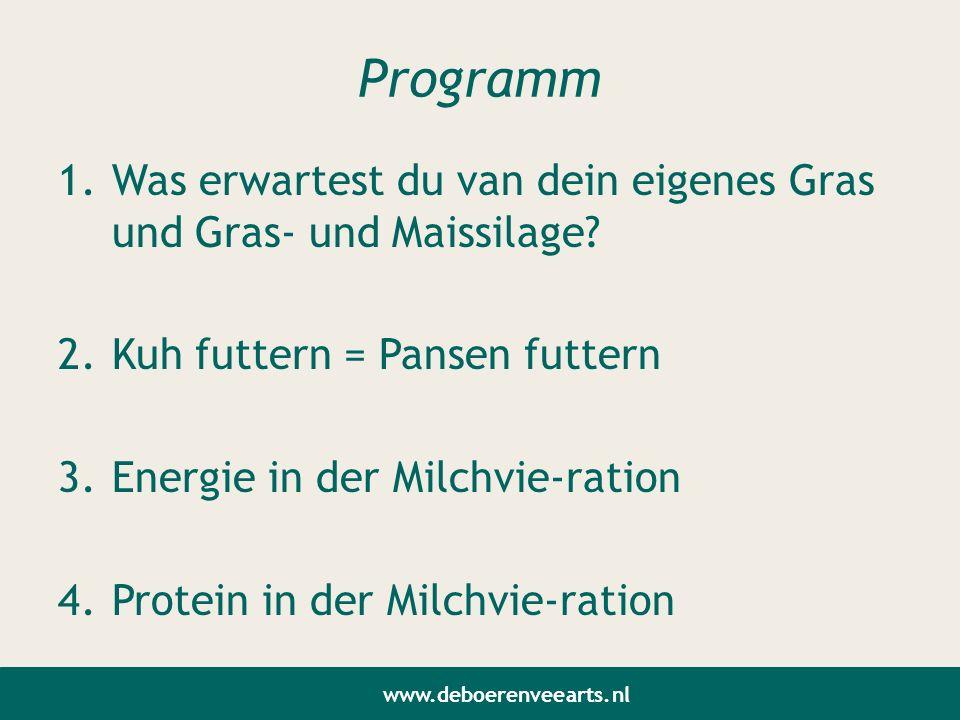 Programm 1.Was erwartest du van dein eigenes Gras und Gras- und Maissilage? 2.Kuh futtern = Pansen futtern 3.Energie in der Milchvie-ration 4.Protein