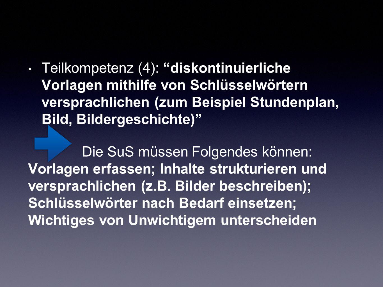 """Teilkompetenz (4): """"diskontinuierliche Vorlagen mithilfe von Schlüsselwörtern versprachlichen (zum Beispiel Stundenplan, Bild, Bildergeschichte)"""" Die"""