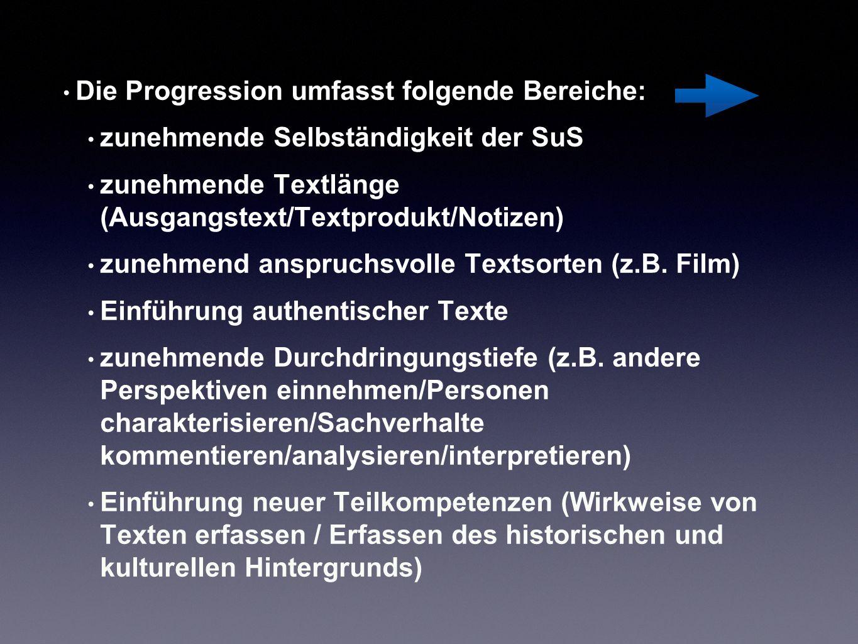 Die Progression umfasst folgende Bereiche: zunehmende Selbständigkeit der SuS zunehmende Textlänge (Ausgangstext/Textprodukt/Notizen) zunehmend anspru