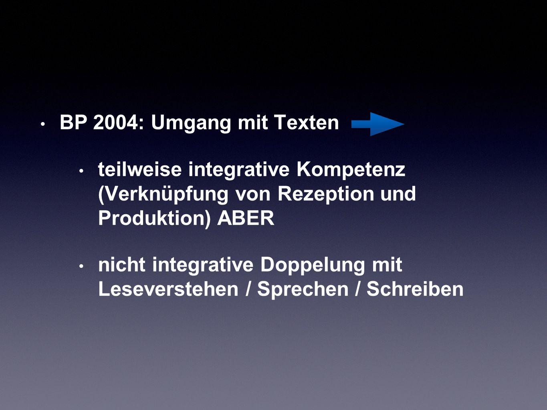 BP 2004: Umgang mit Texten teilweise integrative Kompetenz (Verknüpfung von Rezeption und Produktion) ABER nicht integrative Doppelung mit Leseversteh