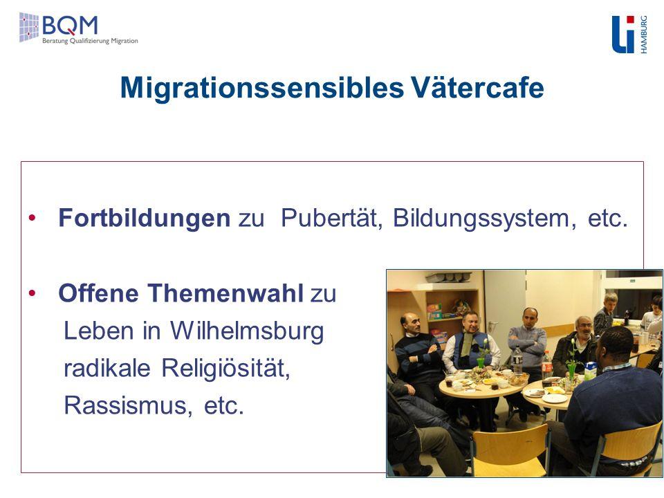 Migrationssensibles Vätercafe Fortbildungen zu Pubertät, Bildungssystem, etc. Offene Themenwahl zu Leben in Wilhelmsburg radikale Religiösität, Rassis