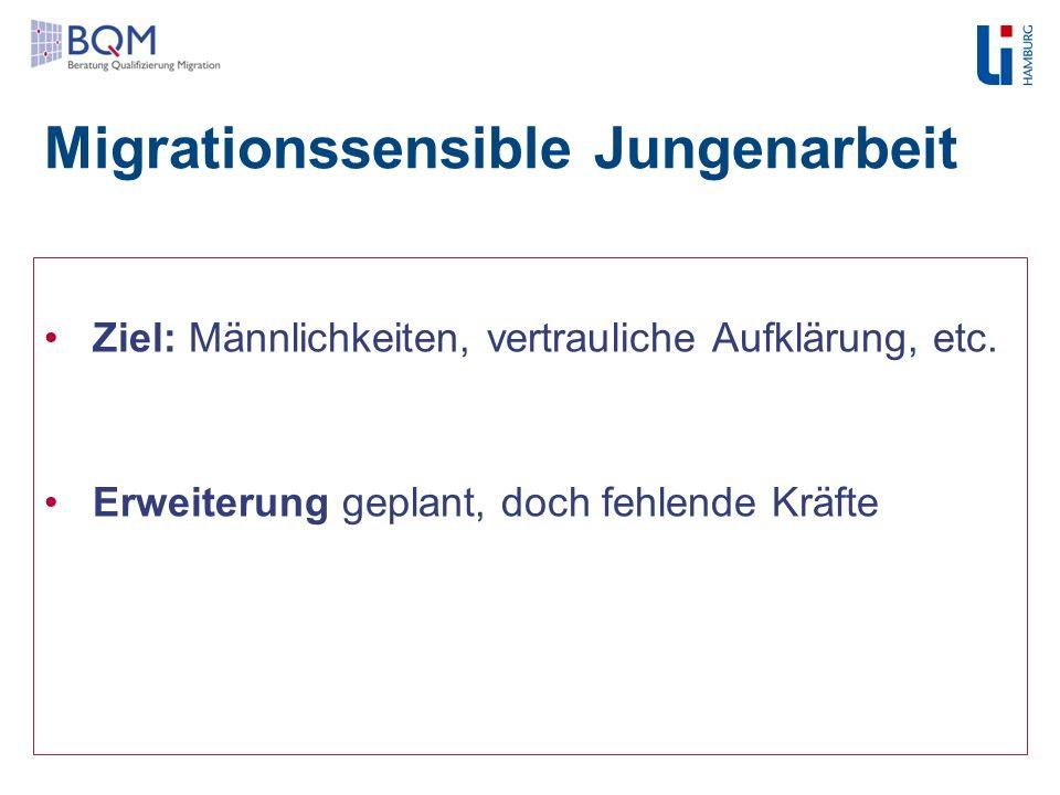 Migrationssensible Jungenarbeit Ziel: Männlichkeiten, vertrauliche Aufklärung, etc. Erweiterung geplant, doch fehlende Kräfte