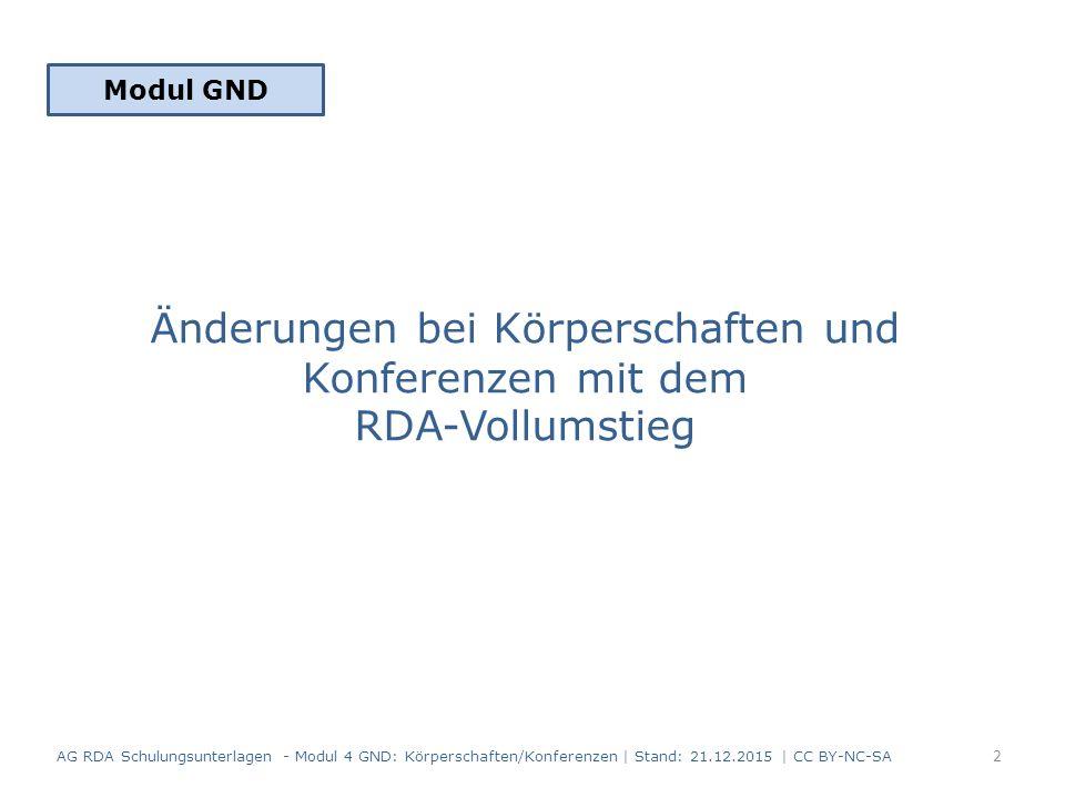 Änderungen bei Körperschaften und Konferenzen mit dem RDA-Vollumstieg AG RDA Schulungsunterlagen - Modul 4 GND: Körperschaften/Konferenzen | Stand: 21.12.2015 | CC BY-NC-SA Modul GND 2