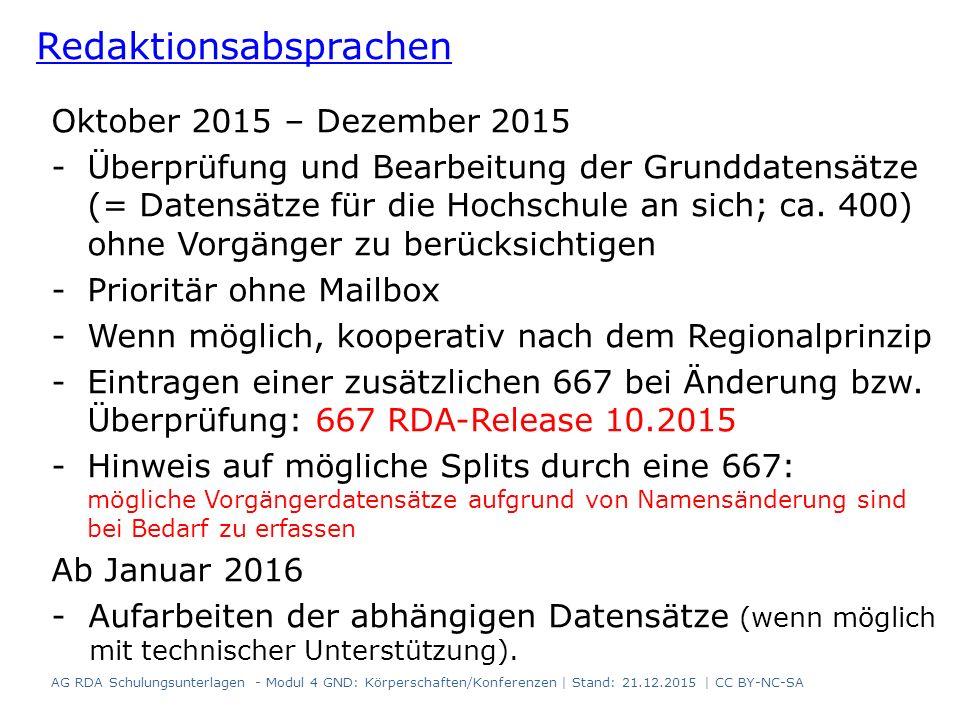 Oktober 2015 – Dezember 2015 -Überprüfung und Bearbeitung der Grunddatensätze (= Datensätze für die Hochschule an sich; ca.