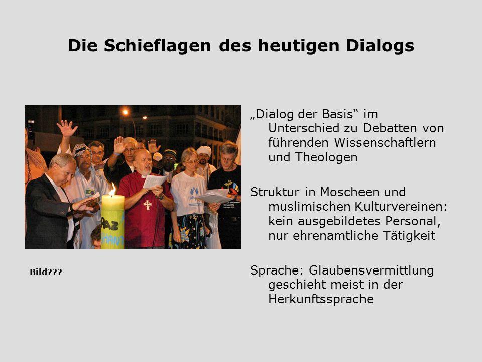 """Die Schieflagen des heutigen Dialogs """"Dialog der Basis"""" im Unterschied zu Debatten von führenden Wissenschaftlern und Theologen Struktur in Moscheen u"""