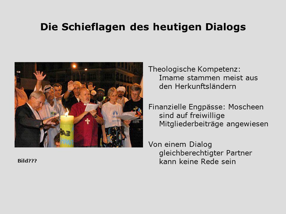 Die Schieflagen des heutigen Dialogs Theologische Kompetenz: Imame stammen meist aus den Herkunftsländern Finanzielle Engpässe: Moscheen sind auf frei