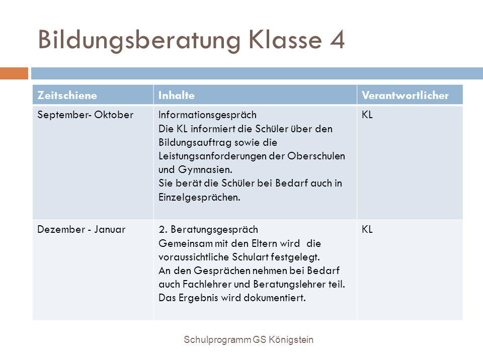 Bildungsberatung Klasse 4 ZeitschieneInhalteVerantwortlicher September- OktoberInformationsgespräch Die KL informiert die Schüler über den Bildungsauf