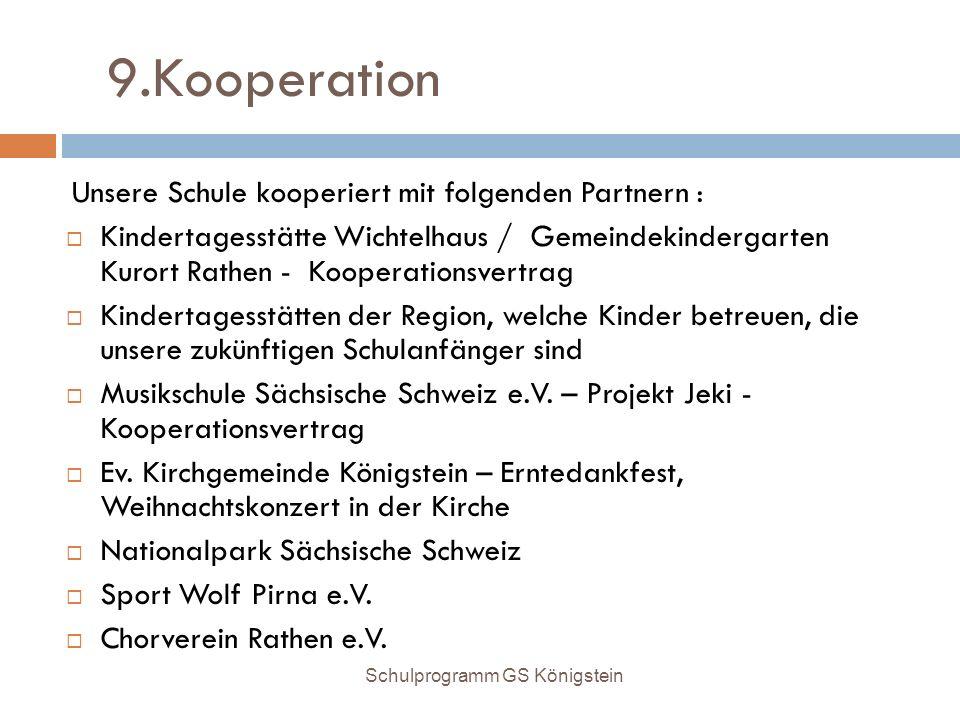 9.Kooperation Unsere Schule kooperiert mit folgenden Partnern :  Kindertagesstätte Wichtelhaus / Gemeindekindergarten Kurort Rathen - Kooperationsver